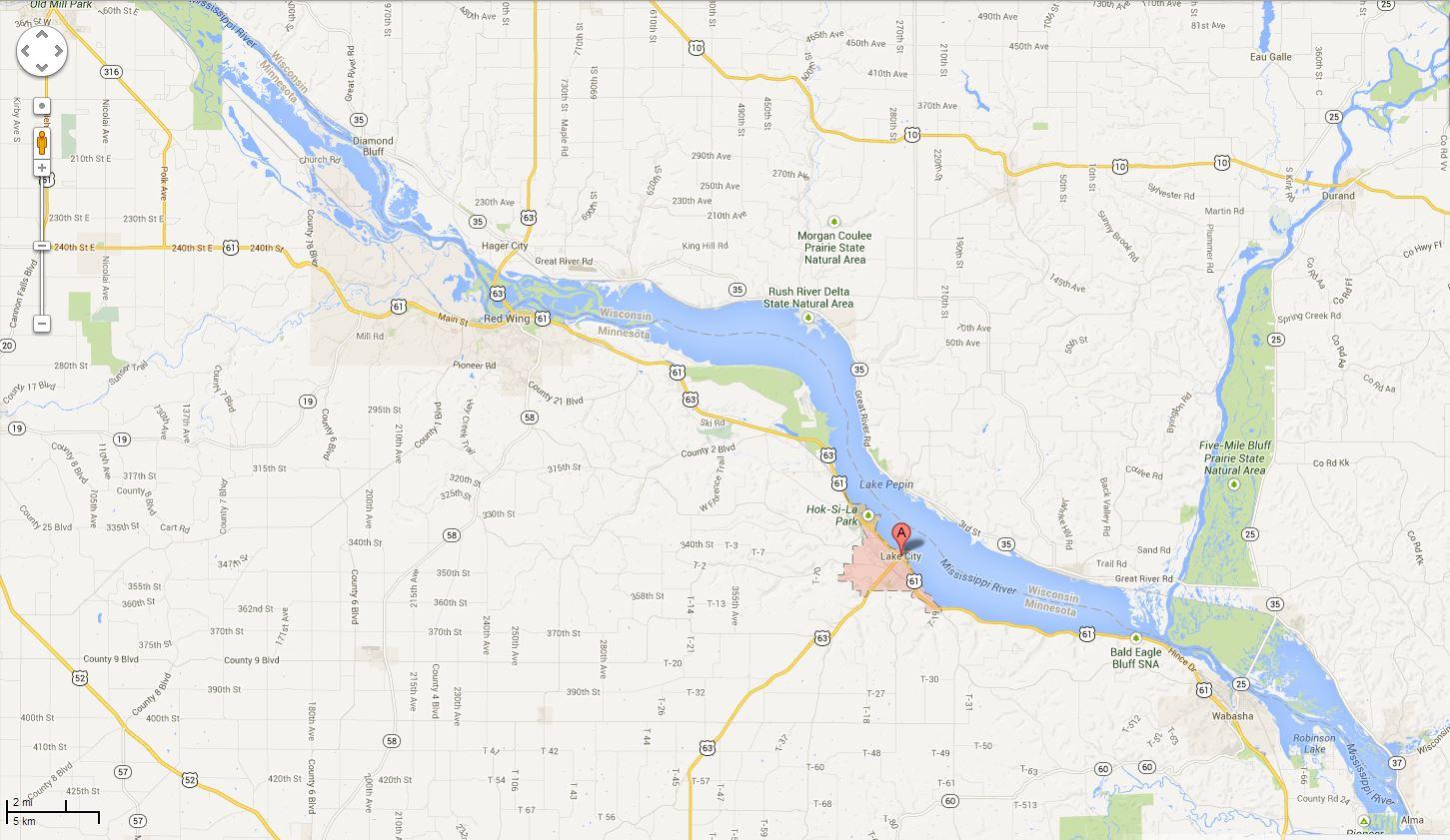 Lake Pepin map