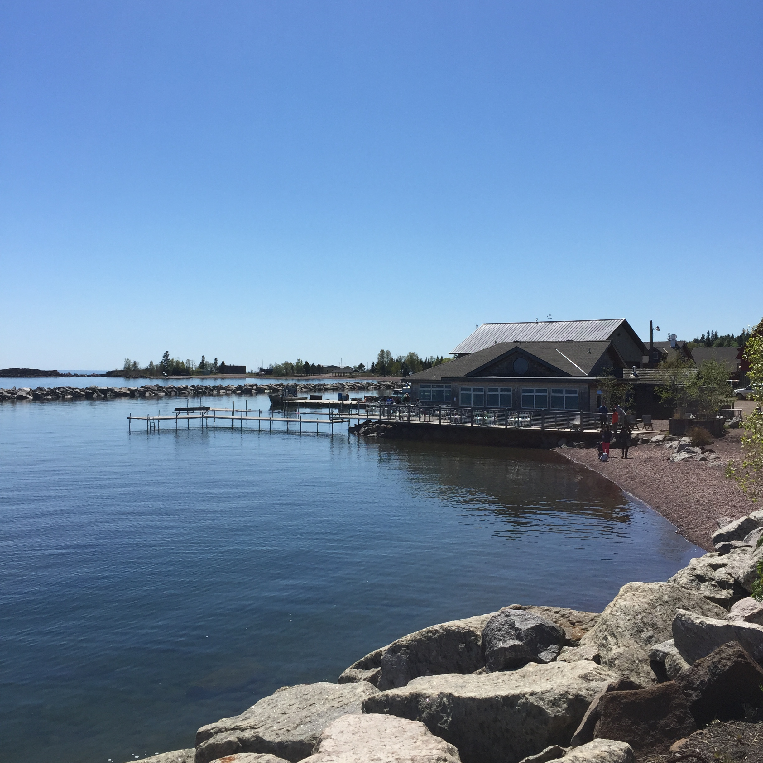 Grand Marais harbor with the Angry Trout restaurant