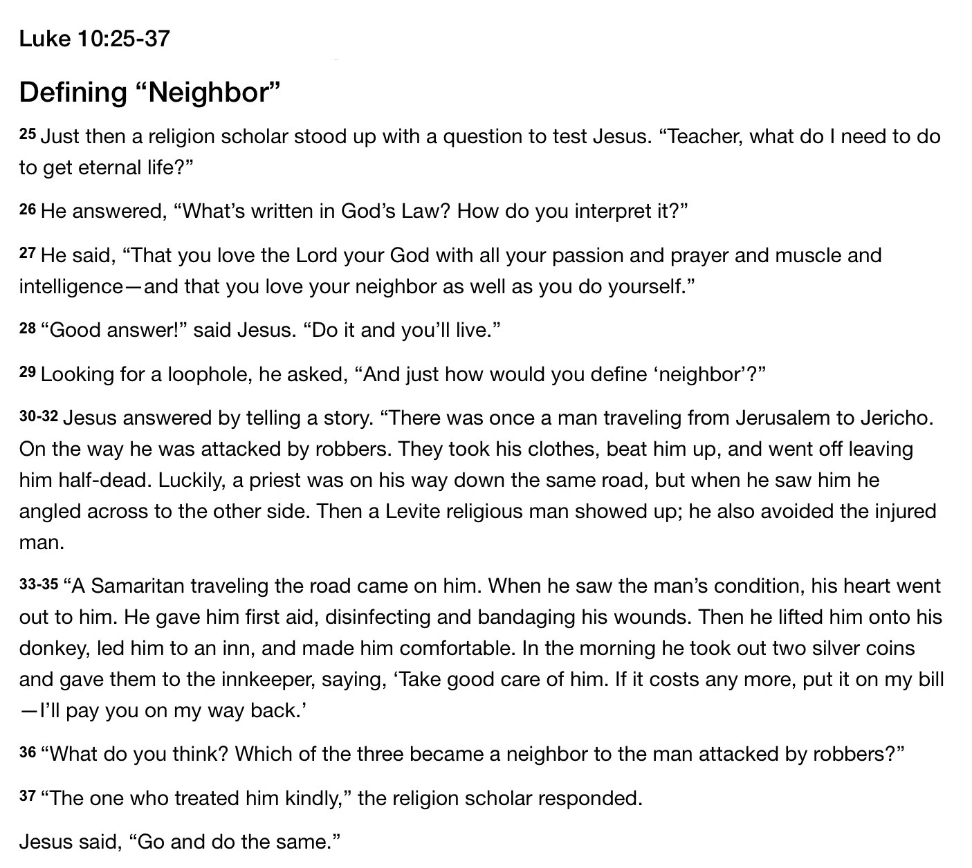 God's definition of neighbor