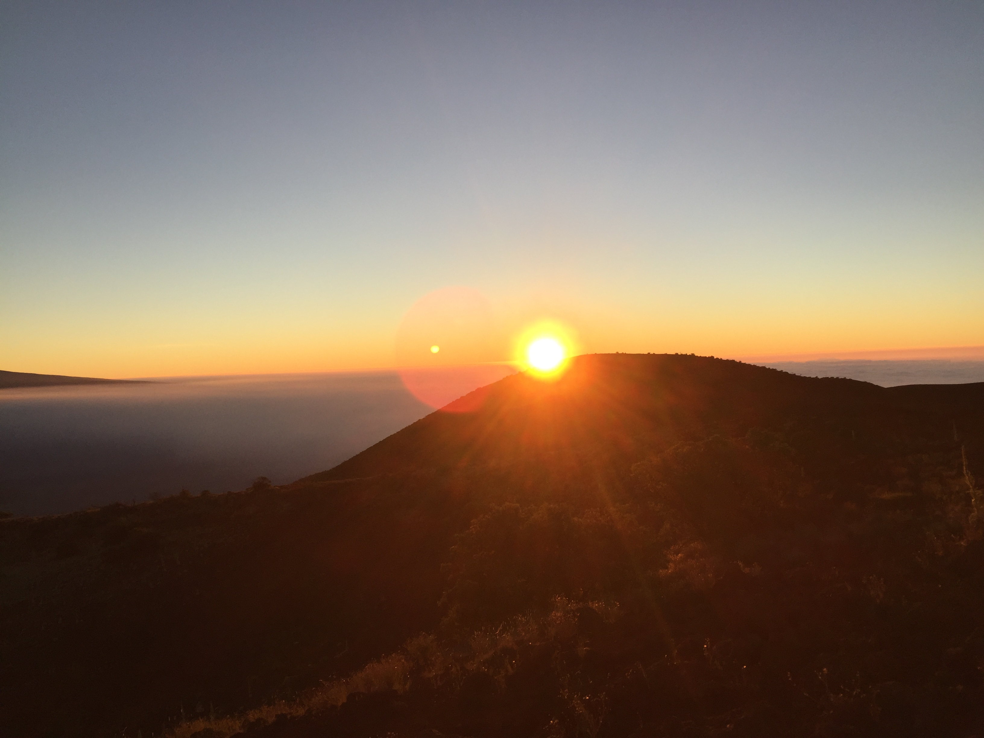 Sunset at the National Observator on Mauna Loa at 10,000 feet