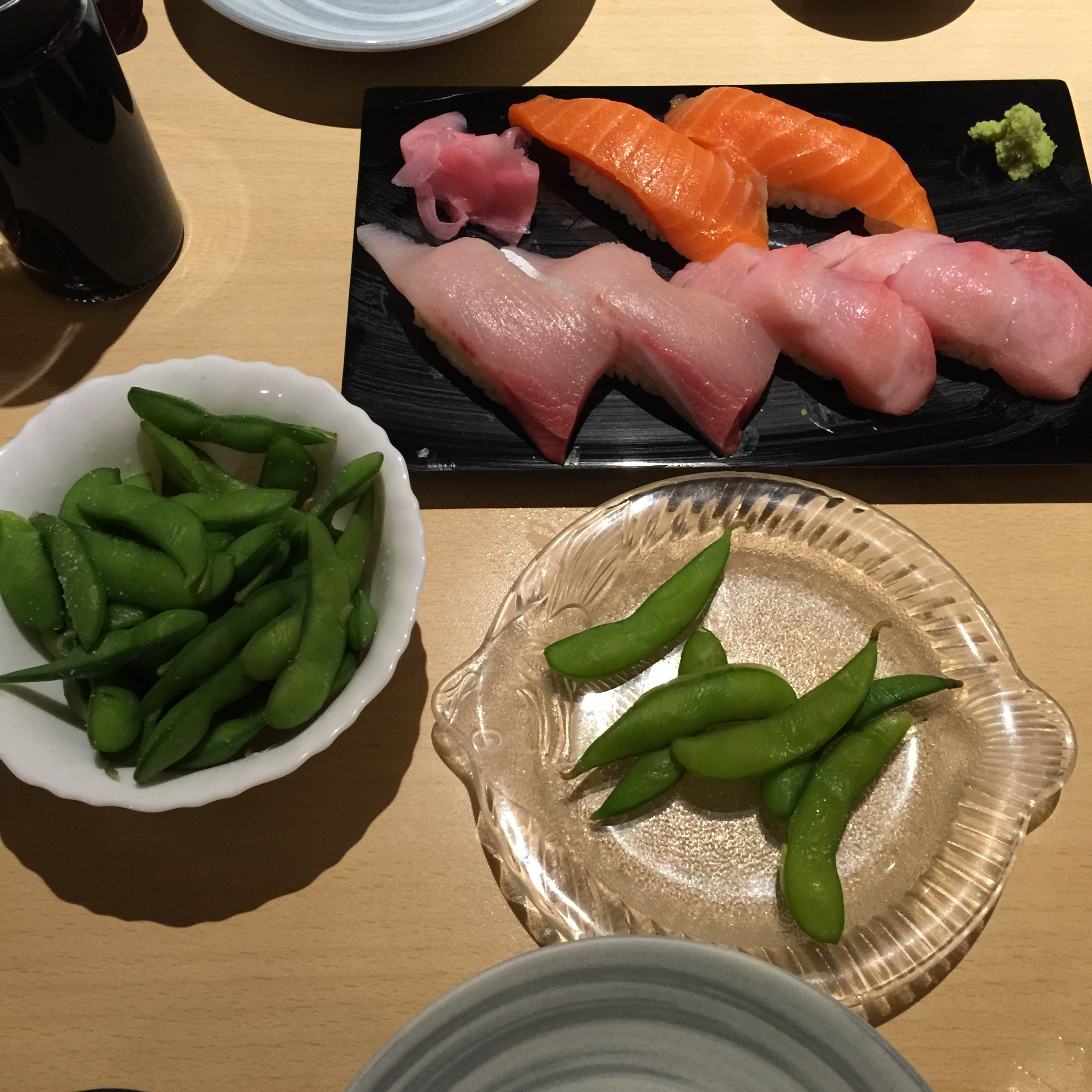 A favorite of mine...steamed soybeans and sushi